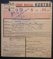BULLETIN DE COLIS POSTAL En FRANCHISE PRISONNIERS DE GUERRE 1943 Cachet CAUSSADE Oeuvre Du Colis Du Prisonnier - Spoorwegzegels