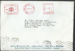 Pakistan Airmail 1991 Franking Machine Cancellation, WWF Better Pakistan Airmail To Pakistan - Covers & Documents