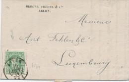 573/23 - Lettre TP 30 TARIF PREFERENTIEL ARLON 1874 Vers LUXEMBOURG - Mention écrite Du Collectionneur N11 - 1869-1883 Leopold II