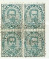 LDR11 - ITALIE REGNO  UMBERTO I EMISSION DE 1879 5c BLOC DE 4  OBLITERE - Oblitérés