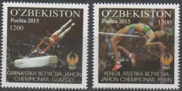 UZBEKISTAN ,2015,MNH, WORLD ATHLETICS AND GYMNSASTICS CHAMPIOSHIPS, GYMNASTICS, HIGH JUMP, 2v - Gymnastics