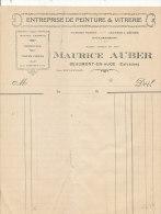 FA723 / FACTURE  ENTREPRISE DE PEITURE & VITRERIE  MAURICE AUBERT BEAUMONT EN AUGE  (CALVADOS)  (FORMAT A 4) - 1900 – 1949