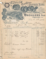 FA 740 / FACTURE   MANUFACTURE DE CHICOREE  DROULERS FILS   FRENES  (NORD)  (FORMAT A 4) - Francia