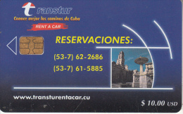 "CUBA - Transtur ""Rent A Car"", Tirage 21000, 11/01, Used - Cuba"