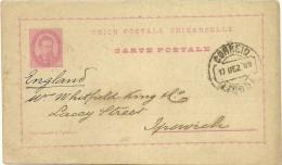 Postal Stationery - Lisboa - Ipswich - 1889 - Postal Stationery