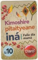 PERU - INA/Feliz Dia Mama, Claro Prepaid Card S/. 10, Exp.date 09/04/13, Used - Peru