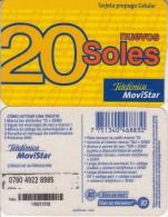 PERU - Movistar By Telefonica Prepaid Card S/. 20, Used - Peru