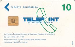 PERU - Telecom Logo, Telepoint First Issue S/. 10(with Moreno Logo, Reverse White), Used - Peru