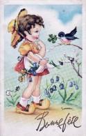 Cpa Bonne Fete Pailletée- Oiseau Donnant Trefle à 4 Feuilles à Fillette-illustrateur Gougeon - Fêtes - Voeux