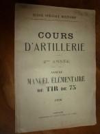 1926 Ministère De La Guerre : Cours D'ARTILLERIE Manuel Du TIR De 75  Mesure Des écarts ,(Défilement ,Feuille De Calcul - Livres