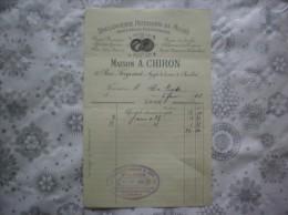 PARIS  MAISON A. CHIRON BOULANGERIE PÂTISSERIE DU MUSEE 16 RUE FREYCINET FACTURE DU 4 FEVRIER 1905 - France
