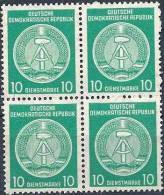 1958-59 ALLEMAGNE ORIENTALE Service 50B**, Bloc De 4 - Service