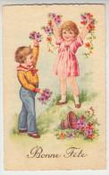 CPA, Bonne Fête, Enfants Avec Fleurs, Kids And Flowers (pk28555) - Botanik