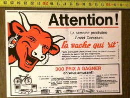 PUB PUBLICITE LA VACHE QUI RIT DE BENJAMIN RABIER CONCOURS ATTENTION - Collections