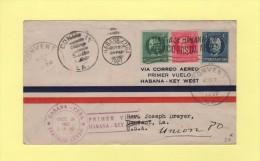 Par Avion - Cuba - Premier Vol Habana Key West - 1927 - Poste Aérienne
