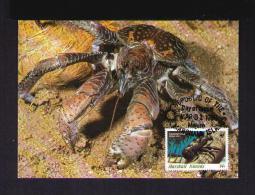 COCONUT CRAB ( Birgus Latro ) Der Palmendieb Araignées Faune Animals Carte Maximum Cards 1986 WWF MARSHALL Islands Mc493 - Marshall Islands