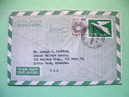 Israel 1966 Aerogramme To USA - Bird - Zodiac Cancer - Israel