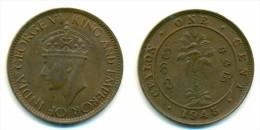 1945 British Ceylon One Cent Coin - Colonies
