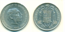 1949 Spain 5 Pesetas Coin - 5 Pesetas
