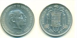 1949 Spain 5 Pesetas Coin - [ 5] 1949-… : Kingdom