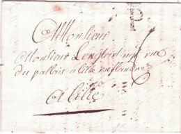 1773 -lettre De Paris  P Couronné Noir -taxe 6 Sols Pour Lille - 1701-1800: Précurseurs XVIII