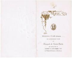 MENU BANQUET DE SAINTE-BARBE MONTEUX A L´HOTEL D´ORIENT SAMEDI 14 DECEMBRE 1957 Mr VILLIE ALEXIS - Menus