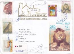 Iraq Com.regsitr Cover 2003, Compl.set+s.sh.animals + AIRPORT Revenue Stamp(Rare On Cover As Postage)-fine Condit. - Iraq
