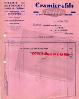 87 - LIMOGES - FACTURE CRAMIER ET FILS- MERCERIE CHAUSSURES- ALLUMETTES CHIMIQUES- RUE BROUSSEAUD -1939 - Frankrijk