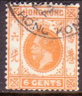 HONG KONG 1912 SG #103 6c Used Wmk Mult Crown CA Yellow-orange - Used Stamps