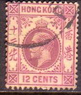 HONG KONG 1912 SG #106 12c Used Wmk Mult Crown CA - Hong Kong (...-1997)