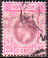 HONG KONG 1914 SG #108 25c Used Wmk Mult Crown CA Type A CV £42 - Hong Kong (...-1997)