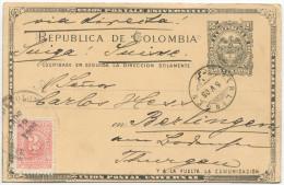 422 - Ganzsache Von Kolumbien In Die Schweiz - Kolumbien