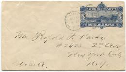 415 - Hawaii Ganzsachen-Umschlag Nach New York - Hawaï