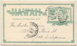 414 - Hawaii Ganzsachen-Postkarte Nach San Jose - Hawaï