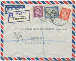 395 - Einschreibebrief Von Neuseeland Nach Island - Neuseeland