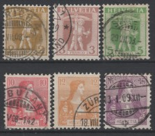 SUISSE - 1907-17 - Obl. - Y&T 113/118 - Série  - Valeur 24.5€ - Used Stamps