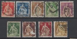 SUISSE - 1907-17 - Obl. - Y&T 119/127 - Série  - Valeur 28.5€ - Used Stamps