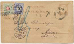 465 - Blaue Und Blaugrüne Portomarken Auf Ungarischer Ganzsache