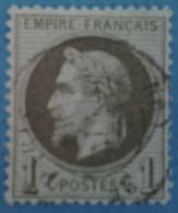 France 1863 : Napoléon III Lauré, Légende EMPIRE FRANCAIS Olive N° 25a Oblitéré - 1863-1870 Napoleon III With Laurels