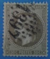 France 1863 : Napoléon III Lauré, Légende EMPIRE FRANCAIS Brun Clair N° 30a Oblitéré - 1863-1870 Napoléon III Lauré