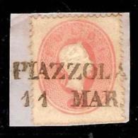 (Fb).A.Stati.Lombardo-Veneto.Mantova.1861-62.-5 Soldi Su Framm.Annullo SD Di Piazzola (p.7) (433-15) - Lombardo-Veneto