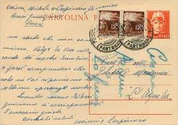 INTERI POSTALI - LUOGOTENENZA UMBERTO II - SINTONI C  121 - USATO - 4. 1944-45 Repubblica Sociale