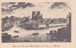 PARIS 4° CPA Ancien Dessin Mariette La CITE NOTRE DAME Bords De SEINE En 1680 - District 04