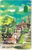 TELECARTE PHONECARD CAMBODGE CAMBODIA  20 $ TEMPLE RUINES - Cambodia