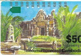 TELECARTE PHONECARD CAMBODGE CAMBODIA  50 $ TEMPLE RUINES - Cambodia