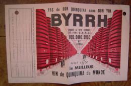 Facture Gaz De Paris 1936/1937 (quittance D´abonnement, Publicité Byrrh Quinquina - France