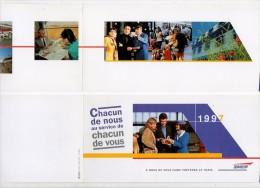 Diverses Cartes De Voeux SNCF; Chemin De Fer 1991 1998 2001 Et 2002 - Chemins De Fer