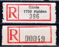 N+ Norwegen 1988 Mi Xx Reco-Zettel Gimle 1750 Halden - Norvegia