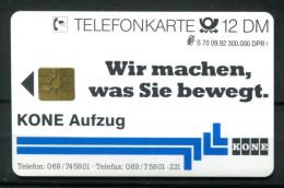 """Germany,Allemagne 1992 Telefonkarte,Phone Card """"Kone Aufzug-Wir Machen,was Sie Bewegt"""" 1 TC-mint,ungebraucht - Telefonkarten"""