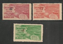 AEROPHILATELIE - 1938 JEAN MERMOZ Club Issue VARIETY INVERTED VALUE- Sanabria # 353-355-357  - * MINT H - Luchtpost